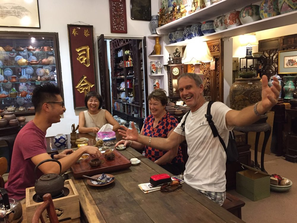 Sharing a pot of vintage Pu-erh tea with a lovely couple from New Zealand
