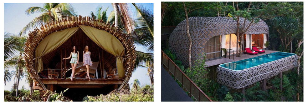 Two of the designs offered by the Bamboo Village Project