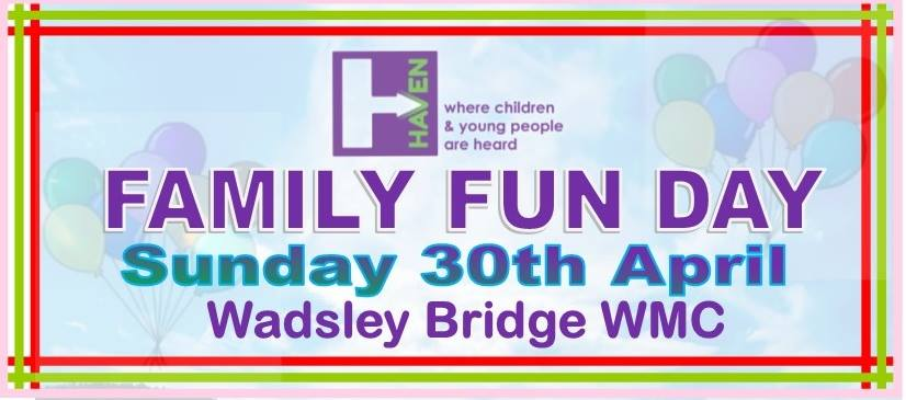 Come and join us at Wadsley Bridge WMC on Sunday 30th April for our Family Fun Day, 12-6pm.   Live entertainment, BBQ, ice-cream, stalls, games, bouncy castle, face-painting, raffle and much more.   All are welcome. Hope to see you there.