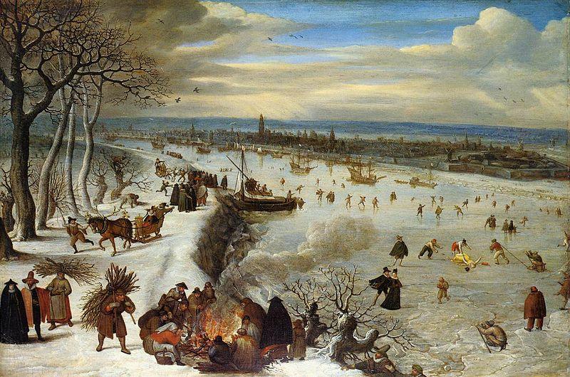 Lucas van Valckenborch - Vista d'Anvers amb el riu Escalda congelat