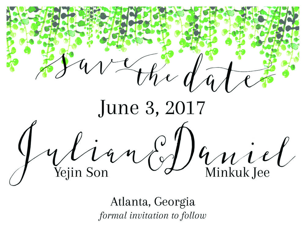 Save-the-Dates for Daniel & Julian Wedding   Zebra G nib + ink, watercolor, Adobe Photoshop type