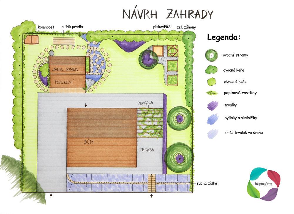Návrh zahrady v Životicích u Nového Jičína, venkovská zahrada, přírodní zahrada, KTgardens