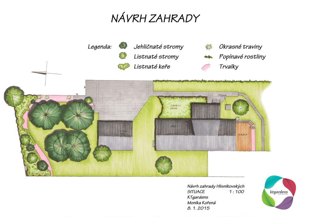 Návrh zahrady v Zelinkovicích, předzahrádka, KTgardens