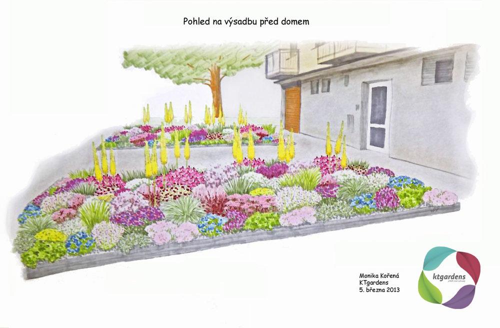 Návrh zahrady v Brně, předzahrádka, KTgardens