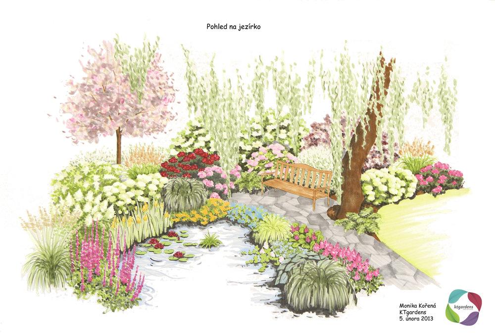 Návrh zahrady v Lichnově, venkovská zahrada, jezírko, KTgardens