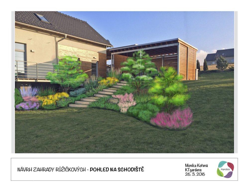 Návrh zahrady na Starém Jičíně, moderní zahrada, zahrada ve svahu, KTgardens