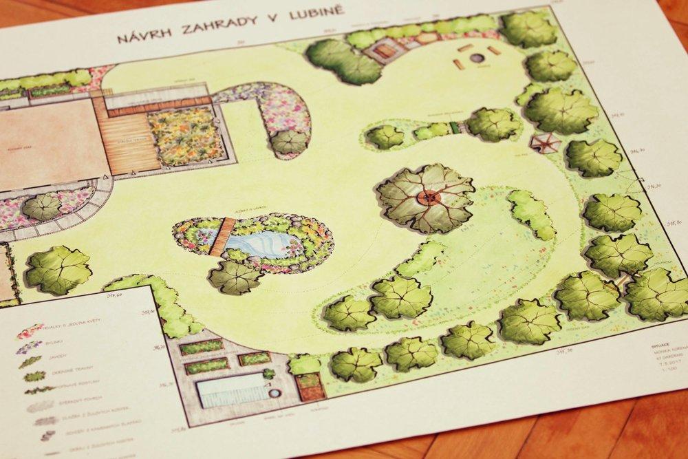 přírodní zahrada v Lubině, ktgardens, situace
