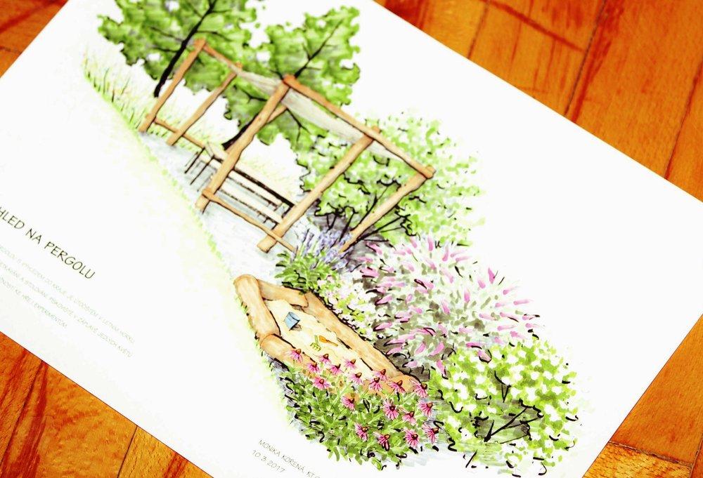 přírodní zahrada v Lubině, ktgardens, pohled na pergolu