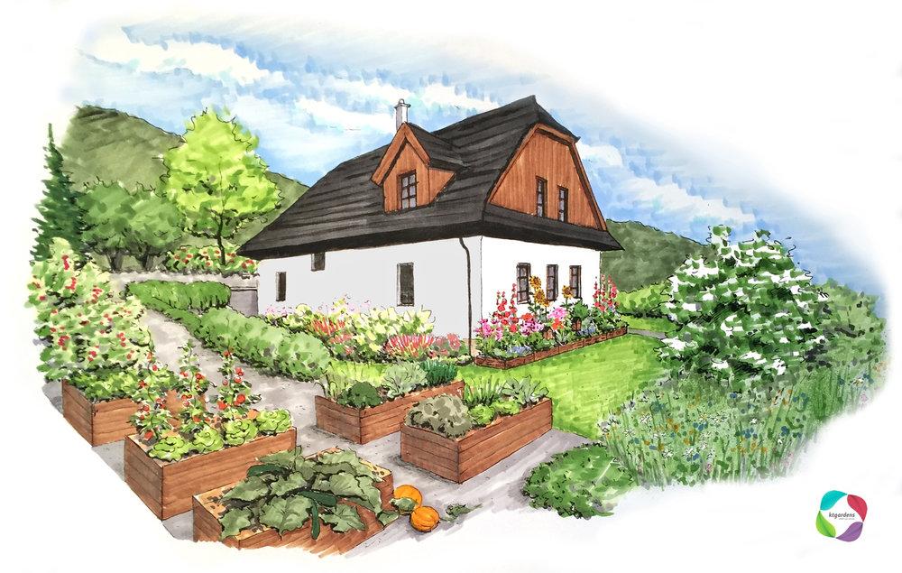 okrasná i užitková zahrada ve Vyšních Lhotách