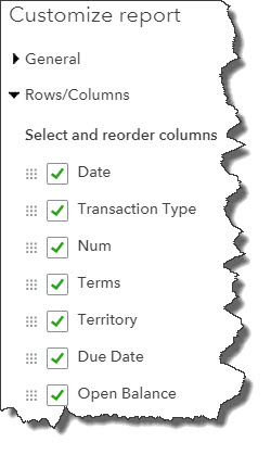 This is a partial list of the  Column  options in QuickBooks Online. You can also customize in multiple other ways.