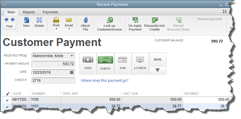 You'll use QuickBooks'  Receive Payments  screen when you record a payment made in response to an invoice.