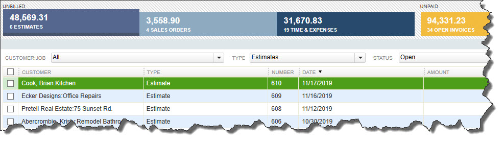 QuickBooks  Income Tracker  displays both summaries of income types and the specific transactions that contribute to those totals.