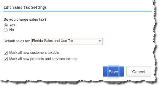 To save time, QuickBooks Online lets you set some default sales tax actions.