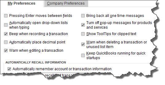 Open the  Edit  menu and select  Preferences,  then  General  to open this window. Everyone who uses QuickBooks can set up their  Preferences  here, but only the administrator can modify  Company Preferences.