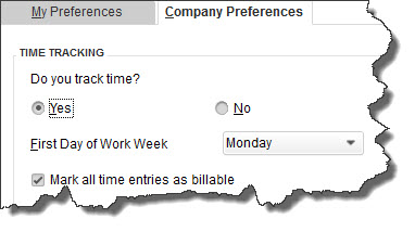 The  Company Preferences  window for  Time & Expenses  displays multiple options.