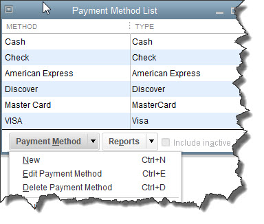 Click the down arrow in the    Payment Method    field near the bottom of this window to see your modification options.