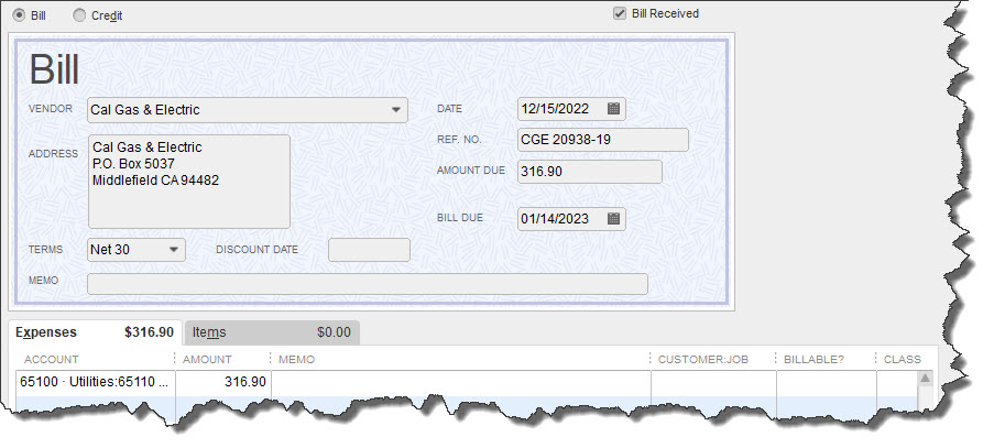 Before you can pay a bill in QuickBooks, you need to create a record for it.