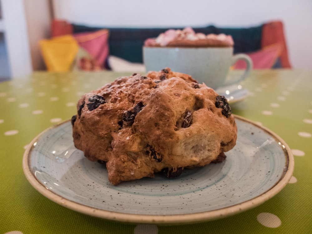 Fruit Scone and Hot Chocolate