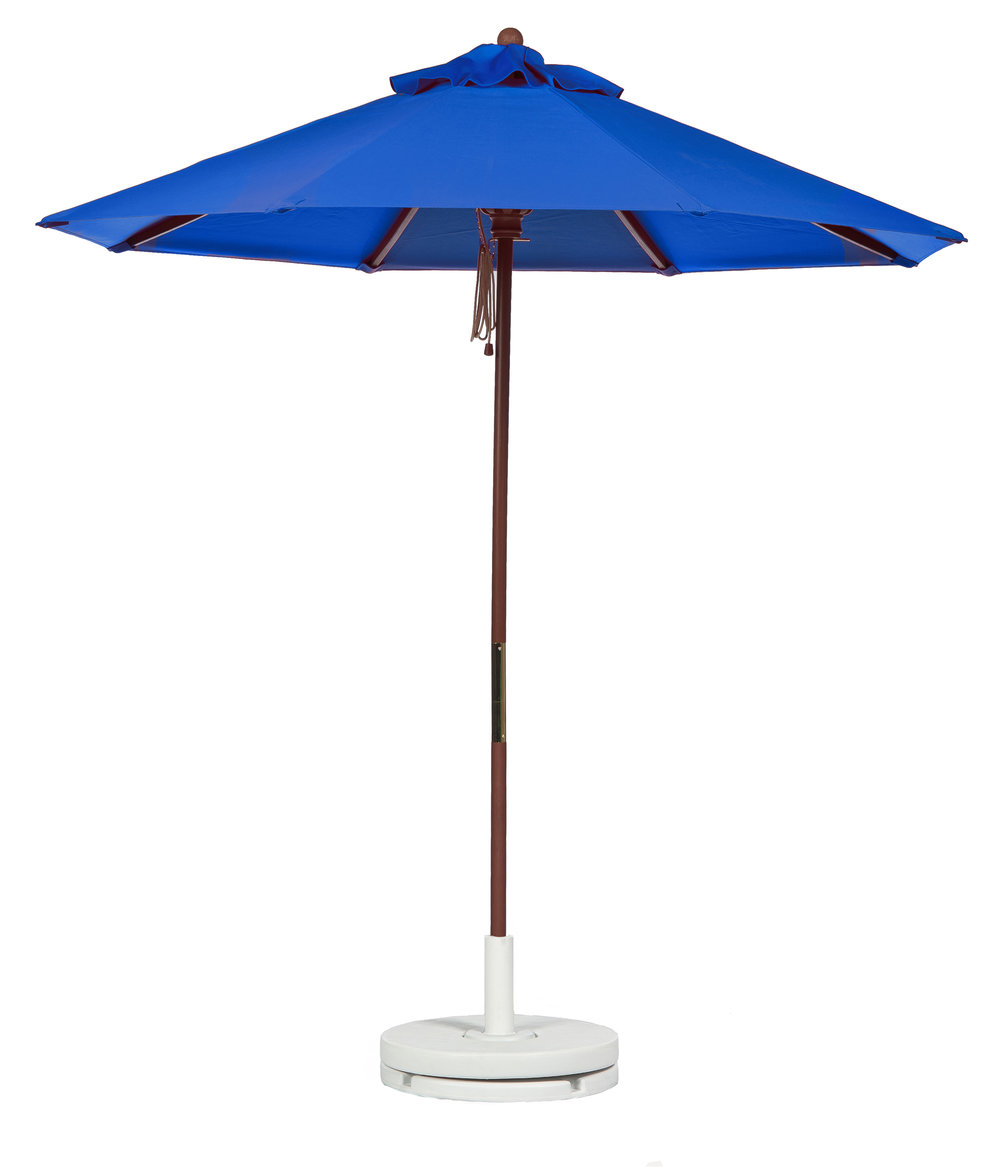market patios blue awning with plastic black pole and base