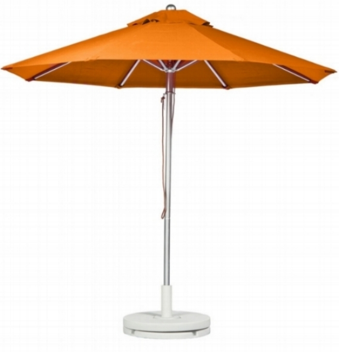 orange umbrella with white plastic stand