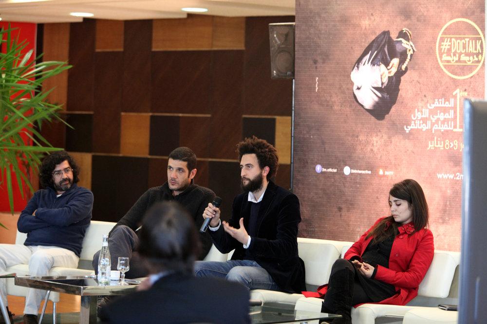 De gauche à droite: Ali Essafi, Nabil Ayouch, Alaaeddine Aljem et Asmae El Moundir