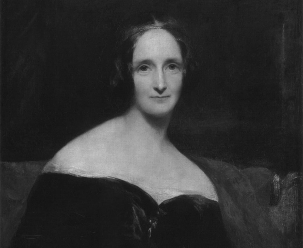 Mary Shelley as painted by Richard Rothwell, displayed at the Royal Academy in 1840.
