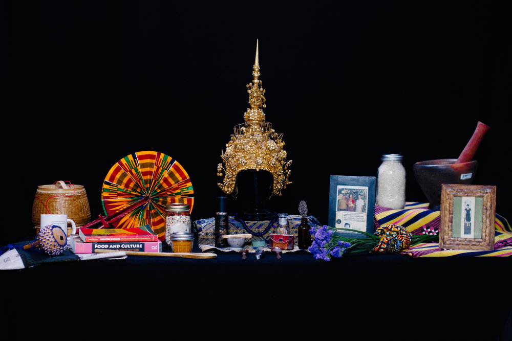 Altar of Survival.   Items provided by Catzie Vilayphonh, Saigay Sherriff, khaliah d. pitts + Shivon Love.  Photography by Rashid Zakat. Creative dseign by Shanti Mayers.