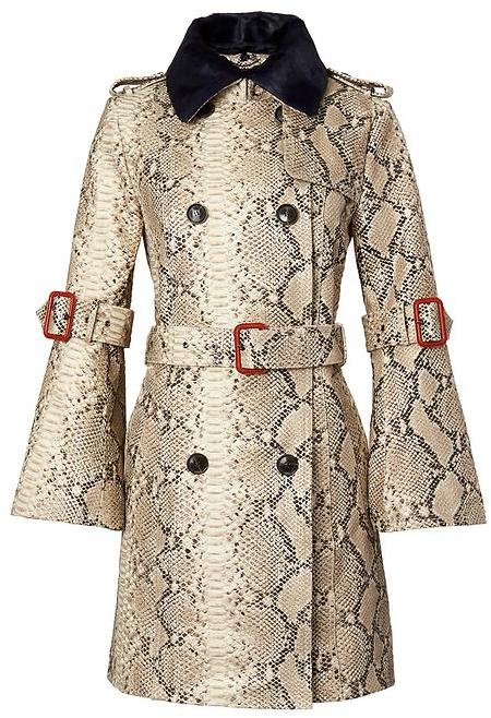 Italian Snake-Effect Leather Trench Coat
