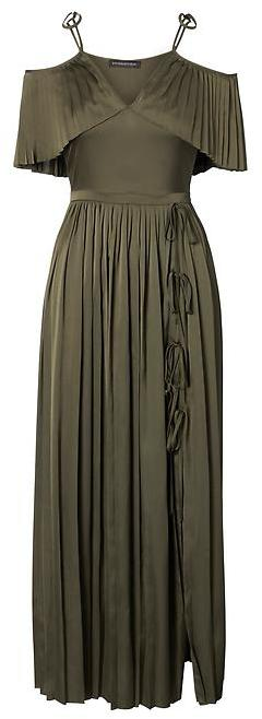 Pleated Off-the-Shoulder Maxi Dress