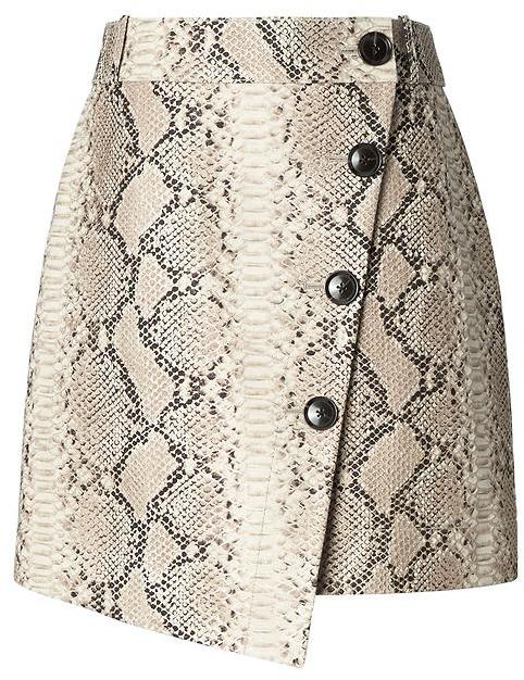 Snake-Effect Italian Leather Button-Wrap Skirt