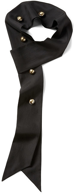 Skinny Silk Scarf with Button Detail