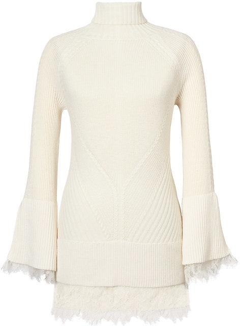 Cable-Knit Turtleneck with Lace Accents
