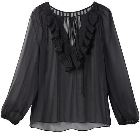 Pleated Ruffle-Back Top
