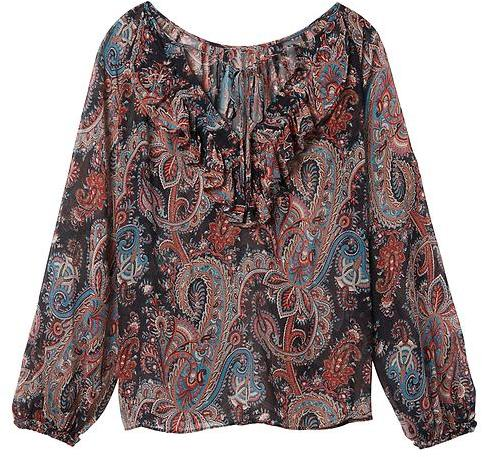 Paisley Pleated Ruffle-Back Silk Top