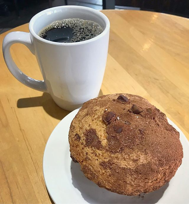 Sweetening a dreary drive through Massachusetts with a warm chocolate chip coffee cake muffin at B Sisters Cafe