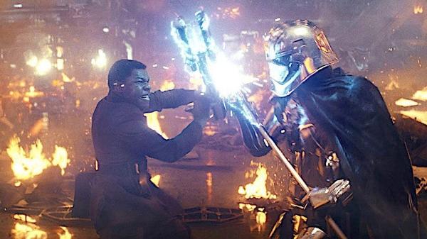 Finn (John Boyega) tangles with Phasma (Gwendoline Christie).