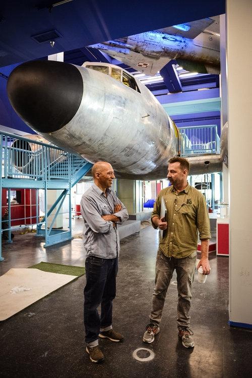 Matias Alvarez and Mark Hofeling, directing air traffic.