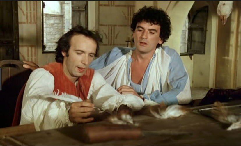 Benigni and Troisi in  Non ci resta che piangere,  writing one of the  funniest letters  in Italian cinema history.