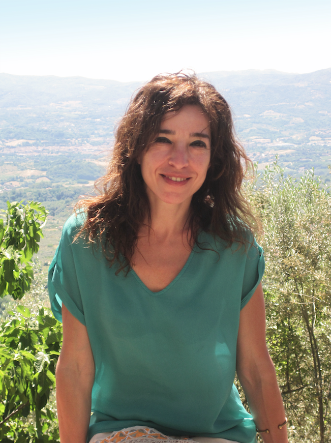 Michela Badii at her home in Pulicciano, Tuscany. The Florentine hills are in the background.