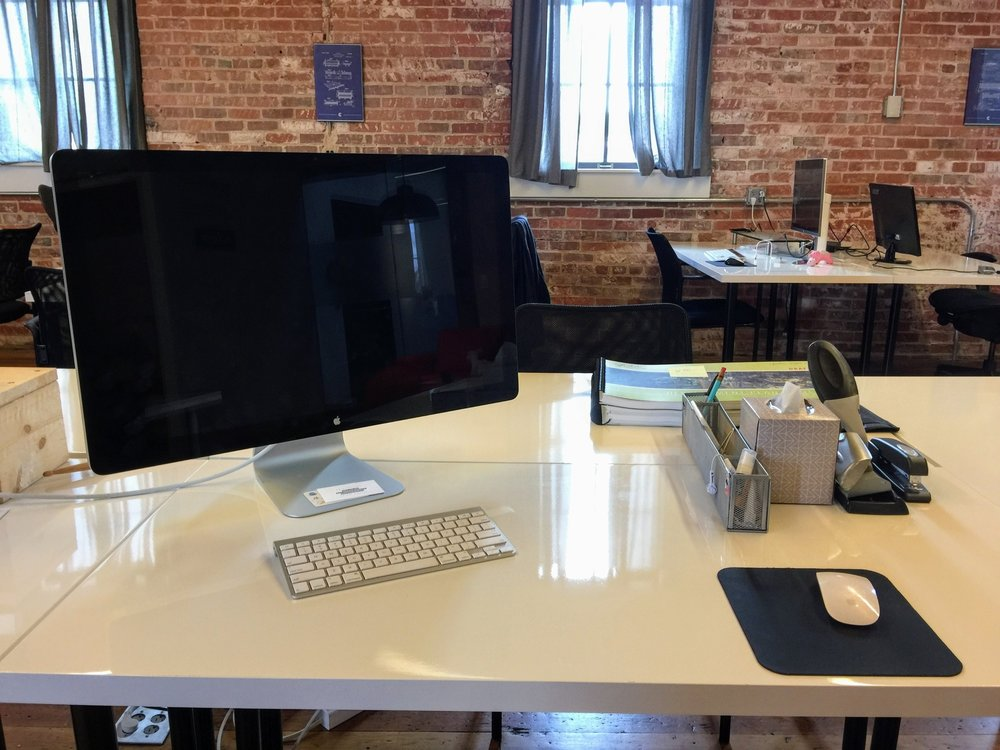 Dedicated Desk - $325/month + Tax• Your own desk at Collider with 24/7 access• Access to Quiet Rooms and Conference Rooms• Community Perks Card