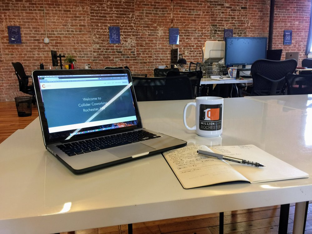 Hot Desk - $220/month + Tax• Use of a hot desk at Collider 24/7• Access to Quiet Rooms and Conference Rooms• Community Perks Card