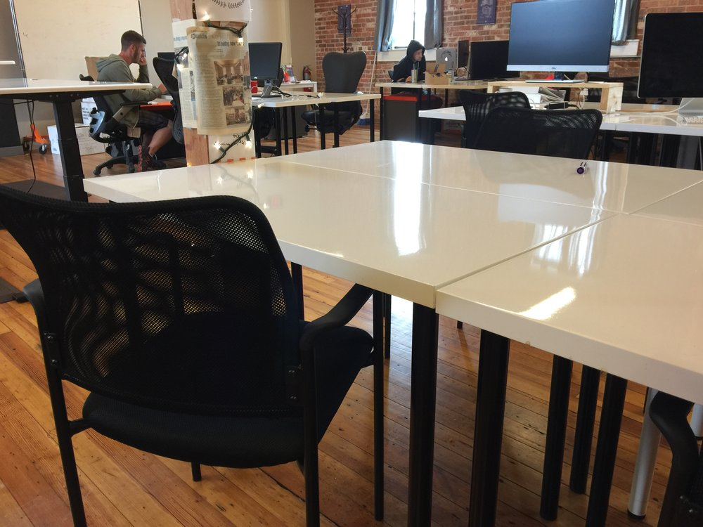 Starter Desk - $100/month + Tax• Use of a hot desk at Collider 10 hours per week• 24/7 Access to Collider• Access to Quiet Rooms and Conference Rooms• Community Perks Card