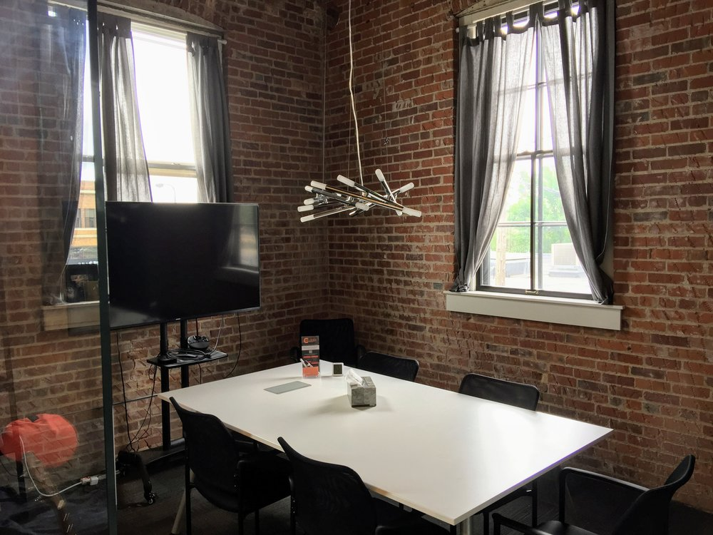 Small Conference Room Rental - $35/hour + Tax• Room accommodates up to 6 people• Large HD TV for presentations• Audio and video conferencing equipment available