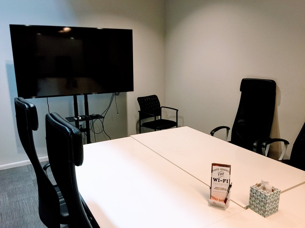 Large Conference Room Rental - $50/hour + Tax• Room accommodates up to 12 people• Large HD TV for presentations• Audio and video conferencing equipment available