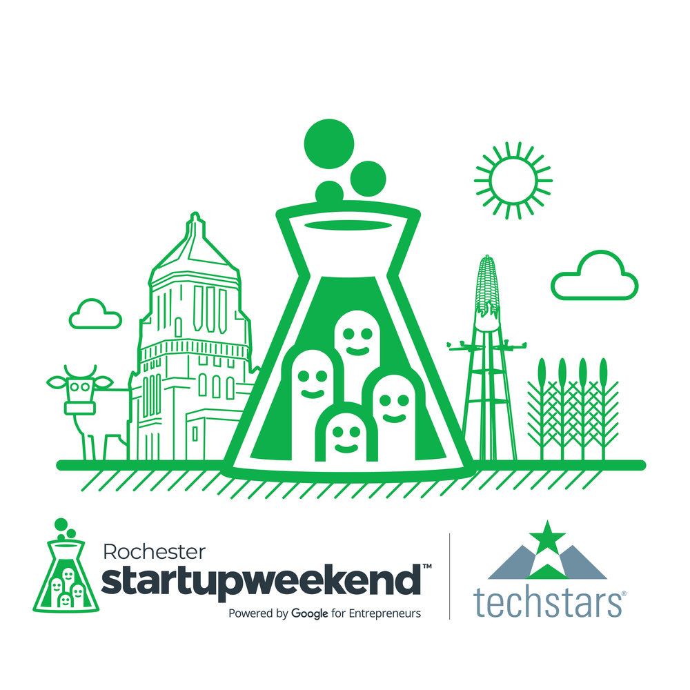 Startup Weekend Rochester - Startup Weekend is a 54-hour weekend event, during which groups of developers, business managers, startup enthusiasts, marketing gurus, graphic artists and more pitch ideas for new startup companies, form teams around those ideas, and work to develop a working prototype, demo, or presentation by Sunday evening.