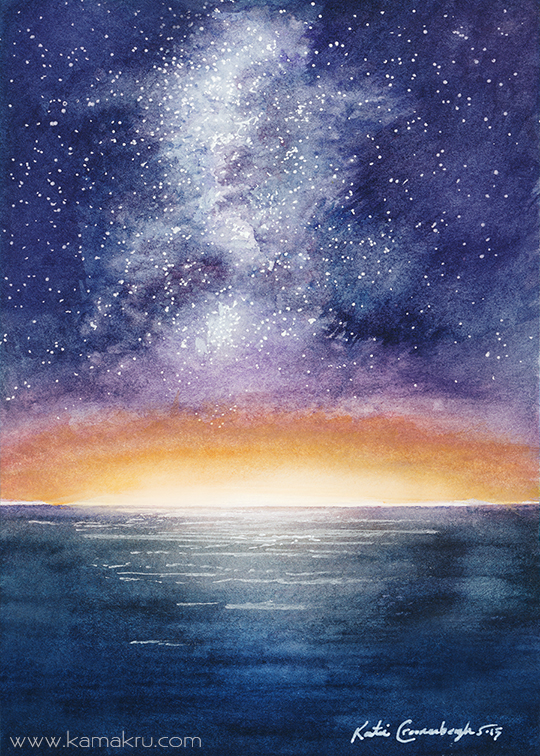 Mini Watercolor - Night Sky 3