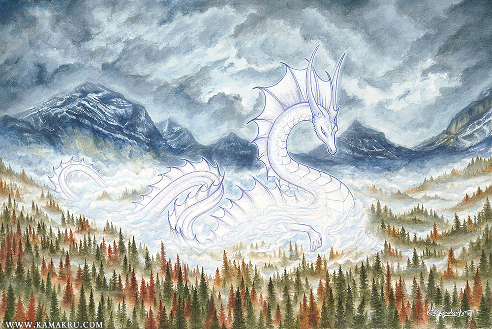 """Misty Mountain Serpent"" -  12x18 Inches"