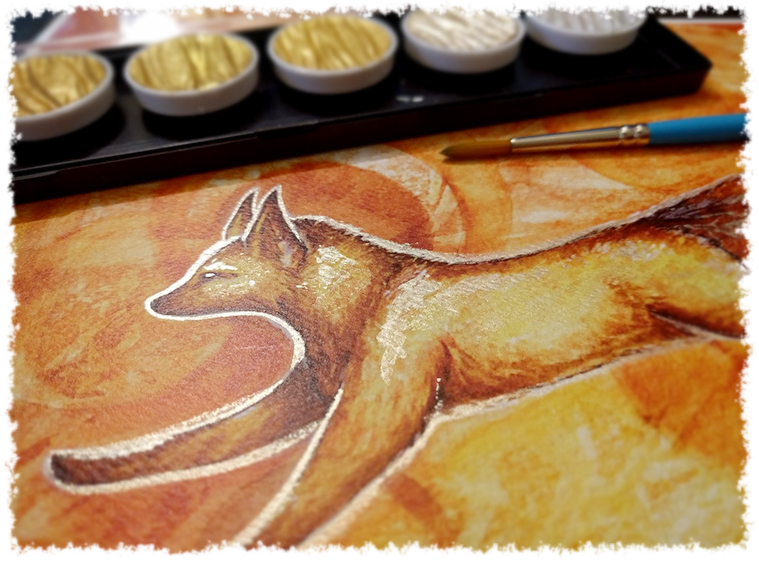 "Test metallic watercolor done on the print ""Dream Fire Fox"""