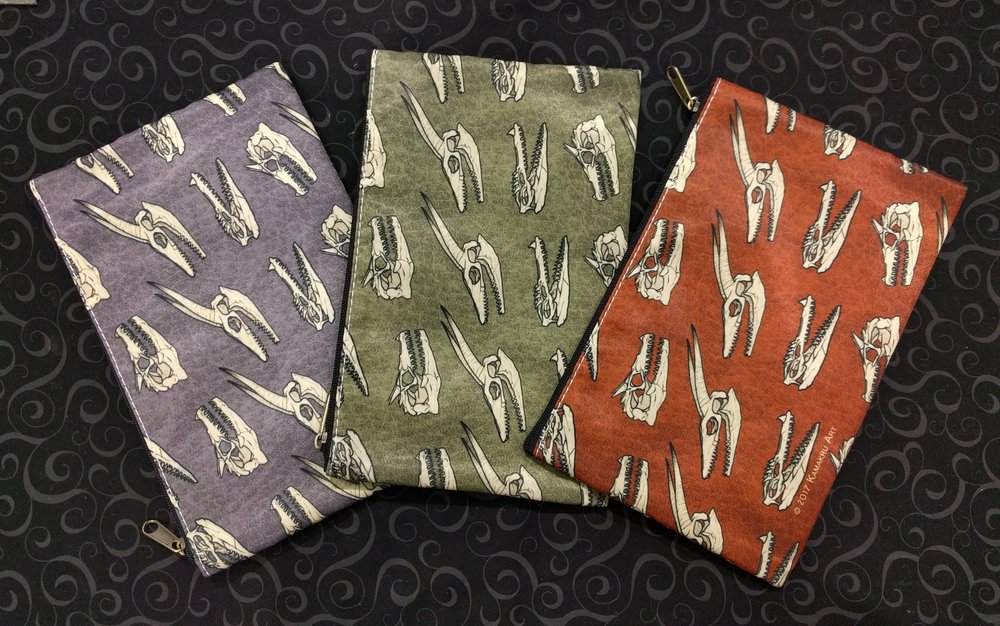 NEW! Dragon Skull zippered pouches