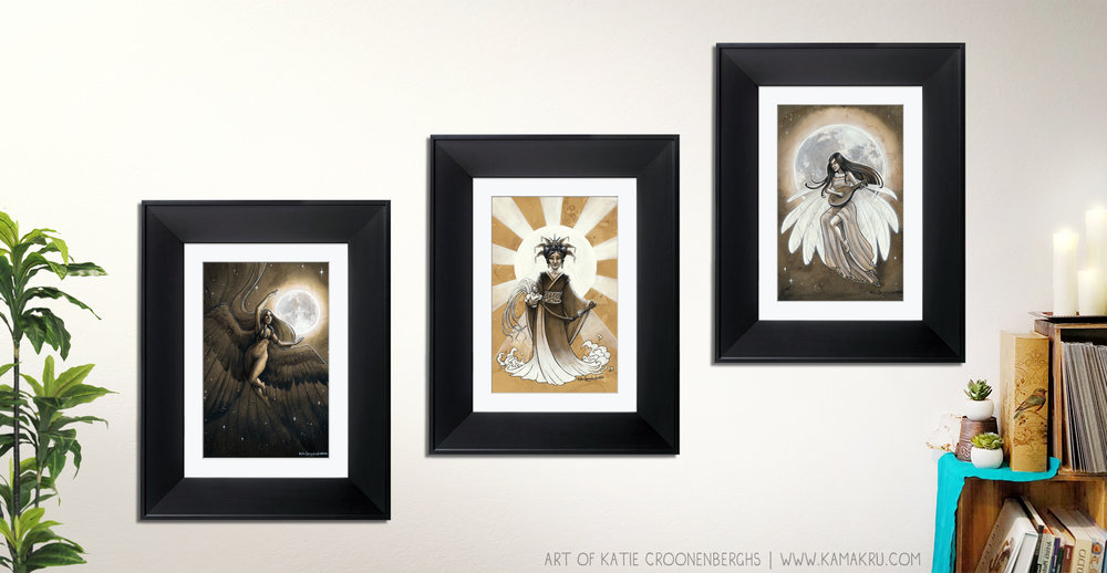 "The three Goddesses: ""Nyx: Goddess of the night"". ""Amaterasu"", Goddess of the Sun, and ""Moon Bird"", of the moon. These three women of myth and lore connect the night and day in a trio of beautiful illustrations originally painted with coffee and India ink."